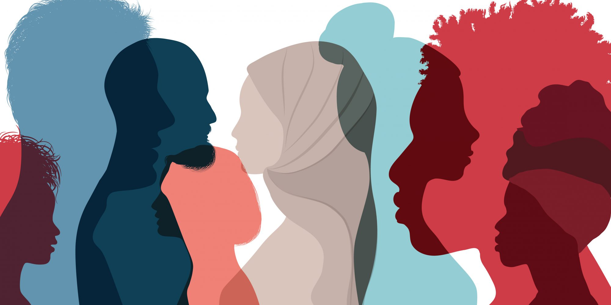 Silhouette,Profile,Group,Of,Men,And,Women,Of,Diverse,Culture.